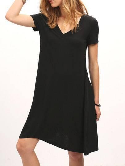 Black V Neck Short Sleeve Loose Dress