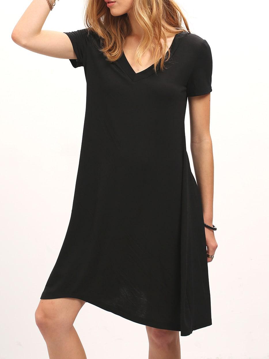 Black V Neck Short Sleeve Loose Dress Shein Sheinside