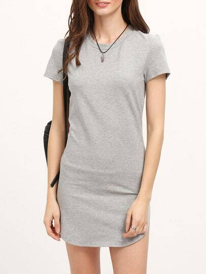 Grey Minis Short Sleeve Split Dress