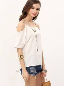 White Cold Shoulder Split Back T-shirt