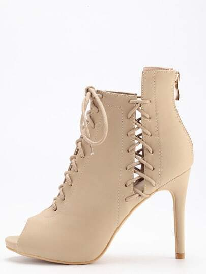 Brown Peep Toe Lace Up Stiletto Heels