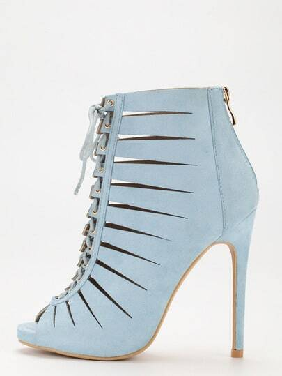 Pale Blue Peep Toe Zipper Lace Up Stiletto Heels