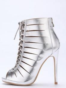 Silver Peep Toe Zipper Lace Up Stiletto Heels
