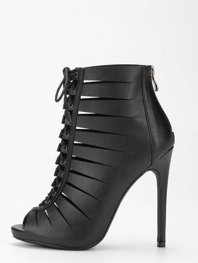 Black Peep Toe Zipper Lace Up Stiletto Heels