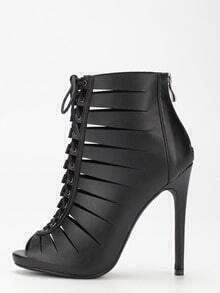 Black Peep Toe Zipper Lace Up Stiletto Heels