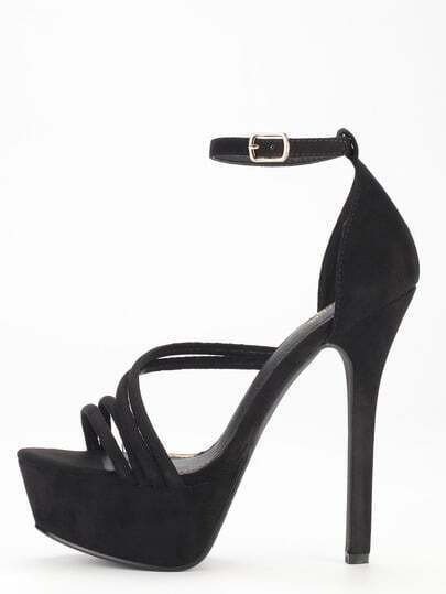 Black Strap Platform High Heel Sandals