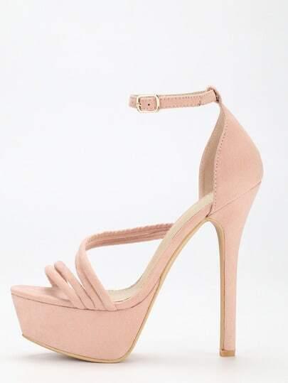 Pink Strap Platform High Heel Sandals