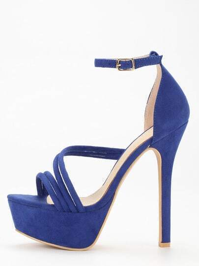 Blue Strap Platform High Heel Sandals