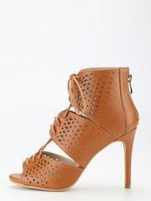 Tan Strappy Peep Toe Lace Up High Heels