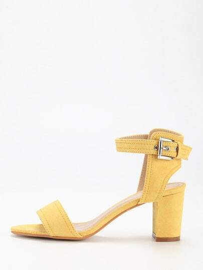 Yellow Faux Suede Block Heel Ankle Strap Sandals