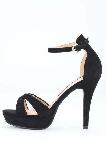 Black Faux Suede Crisscross Heeled Ankle Strap Sandals