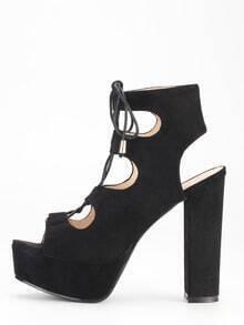 Sandalias cordón tacón grueso -negro