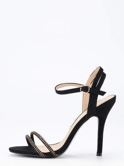 Black Ankle Strap Heeled Sandals