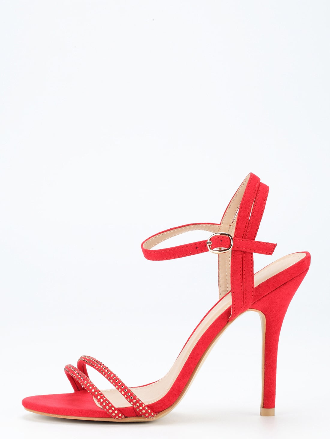 Red Ankle Strap Heeled Sandals shoes16040836