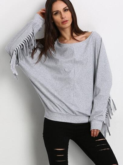 Grey Wide Neck Fringe Sweatshirt