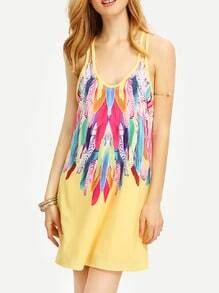 Multicolor Feather Print Spaghetti Strap Beach Dress