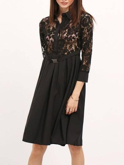 Black Lapel Sheer Lace Slim Dress