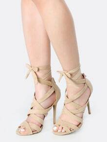 Stiletto Lace Up Faux Suede Heels NATURAL