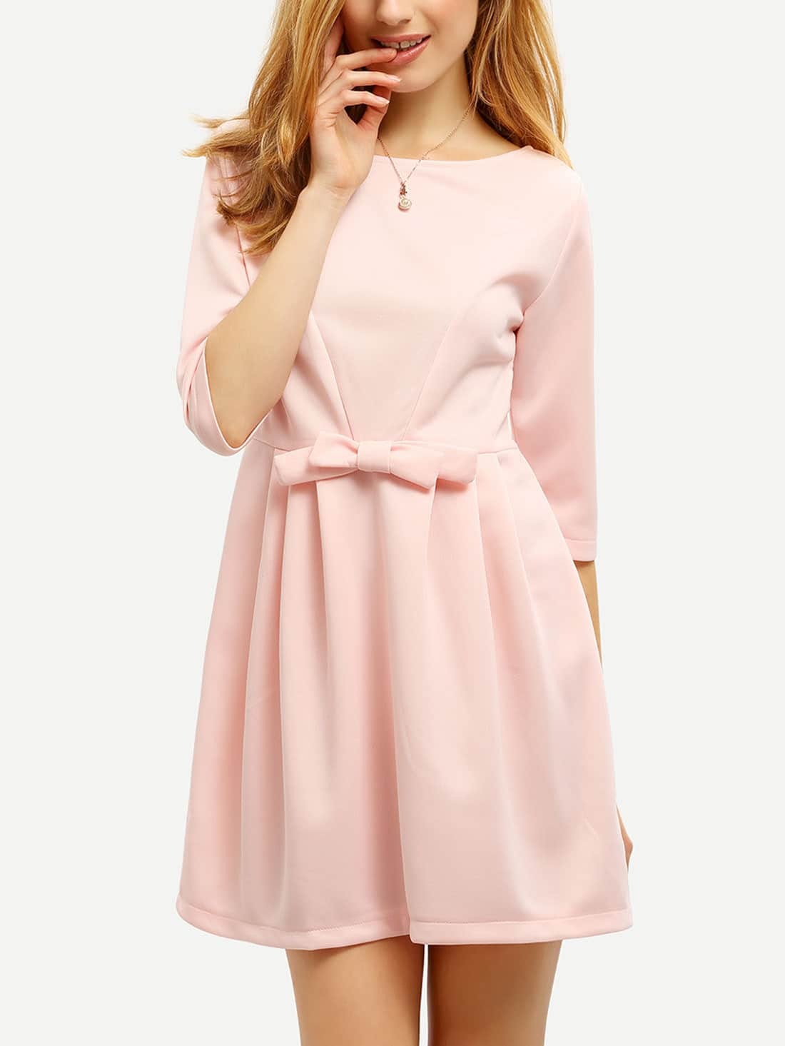 Pink Bow Half Sleeve DressPink Bow Half Sleeve Dress<br><br>color: Pink<br>size: L,M,XL