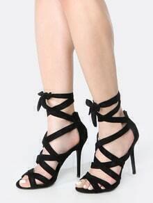 Faux Suede Tie Up Stiletto Heels BLACK
