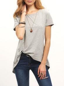 Grey Keyhole Back Slit Back T-Shirt