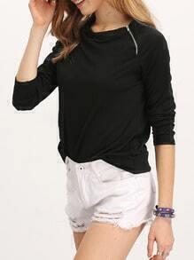 Black Long Sleeve With Zipper T-Shirt