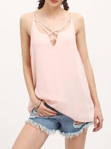 Pink Spaghettic Strap Lace Up Chiffon Cami Top