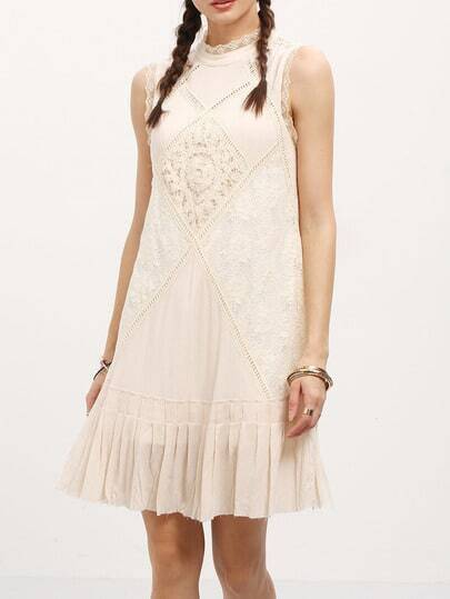 Apricot Ruffle Hem Lace Trim Shift Dress