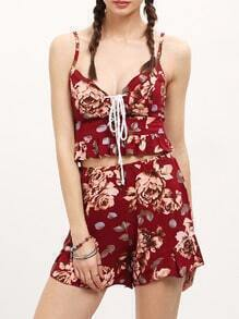 Red Spaghetti Strap Lace Up Floral Top With Shorts