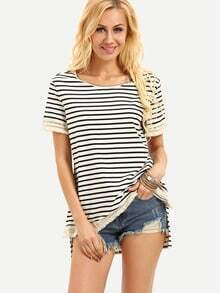 Beige Black Stripe Lace Dip Hem T-shirt