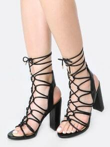 Open Toe Lace Up Chunky Heels BLACK