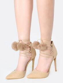 Pom Pom Wrap Up Faux Suede Heels NUDE