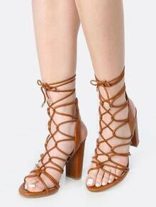 Strappy Open Toe Lace Up Heels WHISKY