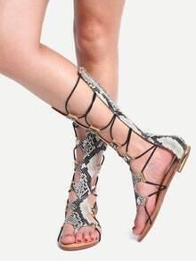 Apricot Lace Up Tall Flip Flat Sandals