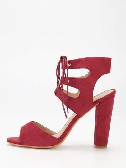 Dark Red Faux Suede Caged Block Heel Sandals