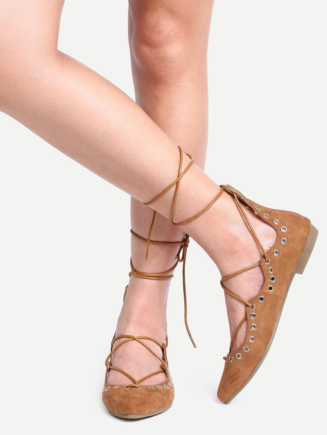 Laser-Cut Lace-Up Pointed Toe Flats - Camel shoes16051248