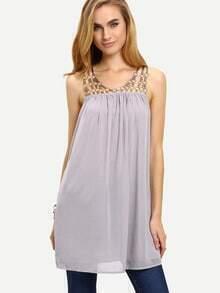 Grey Sleeveless Chains Patchwork Shift Dress