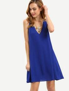 Royal Blue Crisscross Sleeveless Dress