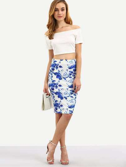 Multicolor Floral Split Knee Length Skirt