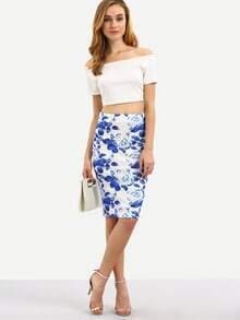 Multicolor Floral Split Knee Length Skirt