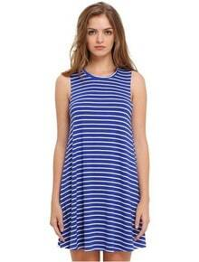Blue White Striped Sleeveless Dress