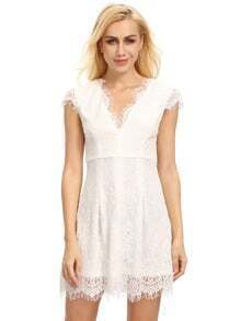 Cream Cap Sleeve Lace Dress