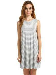 Light Grey Striped Sleeveless Dress