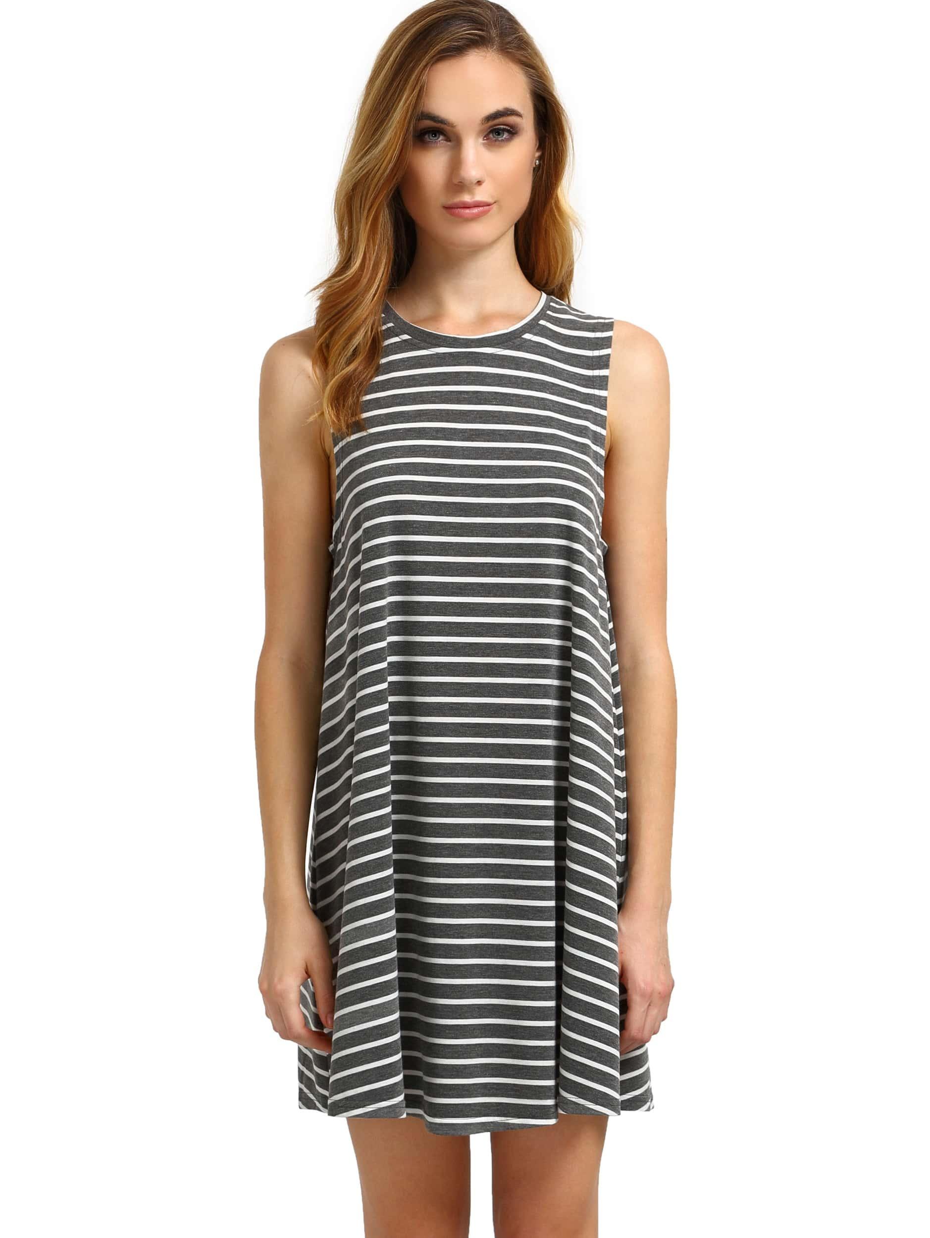 Фото Contrast Striped Sleeveless Dress. Купить с доставкой