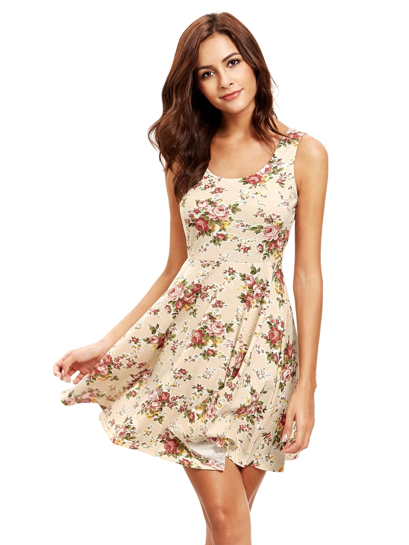 Фото Floral Print Sleeveless Skater Dress. Купить с доставкой