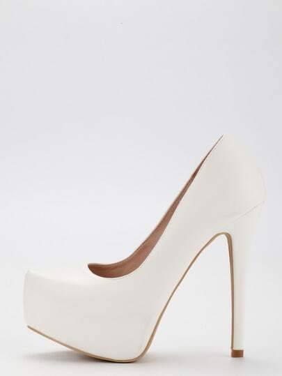 White Faux Leather Platform Pumps