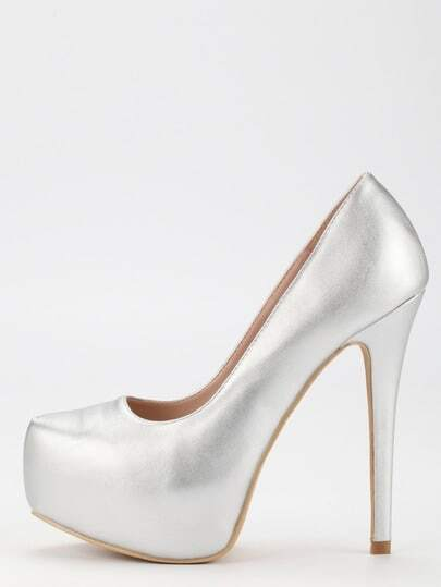 Silver Faux Leather Platform Pumps