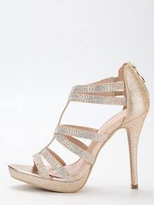 Gold Glitter Caged Platform Pumps