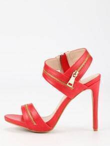 Zipper Embellished Strappy Heels - Red
