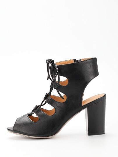 Lace-Up Block Heel Pumps - Black
